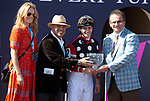 January 25, 2020: Connections of #2 Texas Wedge with jockey Flavien Prat in the winning circle after winning the World of Trouble Turf Sprint Stakes during the Pegasus World Cup Invitational at Gulfstream Park Race Track in Hallandale Beach, Florida. Liz Lamont/Eclipse Sportswire/CSM