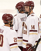 Adam Gilmour (BC - 14) - The Boston College Eagles defeated the visiting University of New Brunswick Varsity Reds 6-4 in an exhibition game on Saturday, October 4, 2014, at Kelley Rink in Conte Forum in Chestnut Hill, Massachusetts.