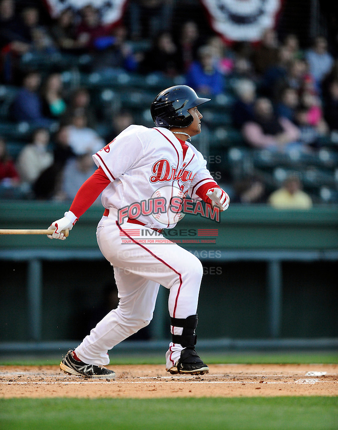 Infielder Boss Moanaroa (29) of the Greenville Drive in a game against the Charleston RiverDogs on Opening Day, Friday, April 5, 2013, at Fluor Field at the West End in Greenville, South Carolina. (Tom Priddy/Four Seam Images)