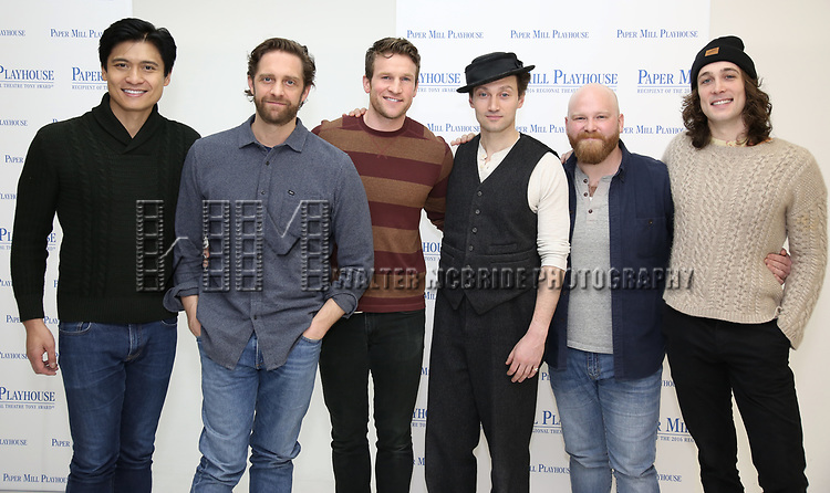 "Paolo Montalban, Colin Hanlon, Claybourne Elder, Bryce Pinkham, Jacob Keith Watson and Conor Ryan during the meet the cast photo call for the Paper Mill Playhouse production of  ""Benny & Joon"" at Baza Dance Studios on 3/21/2019 in New York City."