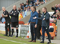 Gareth Ainsworth (Manager) (C) and Richard Dobson<br /> (Assistant manager ) (R) of Wycombe Wanderers look on  frustrated during the Sky Bet League 2 match between Morecambe and Wycombe Wanderers at the Globe Arena, Morecambe, England on 29 April 2017. Photo by Stephen Gaunt / PRiME Media Images.