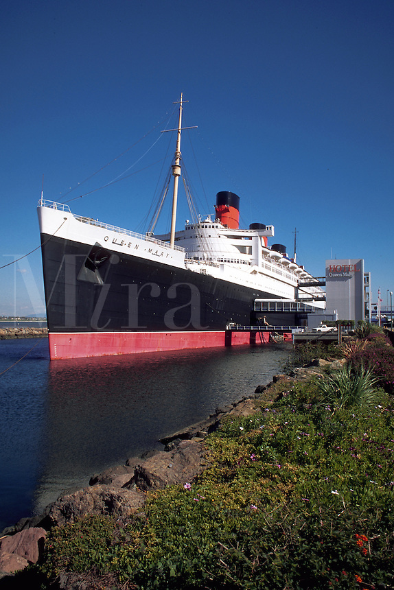 The Queen Mary museum. cruise ship at dock. Long Beach, California.