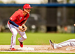 22 February 2019: Washington Nationals infielder Trea Turner takes infield drills during a Spring Training workout at the Ballpark of the Palm Beaches in West Palm Beach, Florida. Mandatory Credit: Ed Wolfstein Photo *** RAW (NEF) Image File Available ***