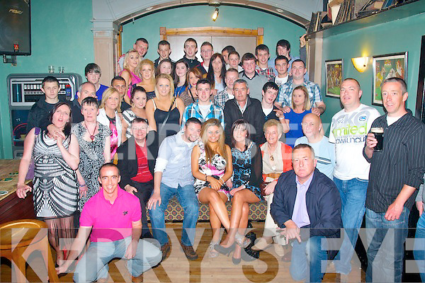 Eighteen kisses: Kelly Lynch,Boherbue,Tralee(seated centre)had a cracker celebrating her 18th birthday last Saturday night in Dowdies bar,Tralee with her parents Chris&Deirdre,Grandparents Eddie&Margaret Lynch and many friends.
