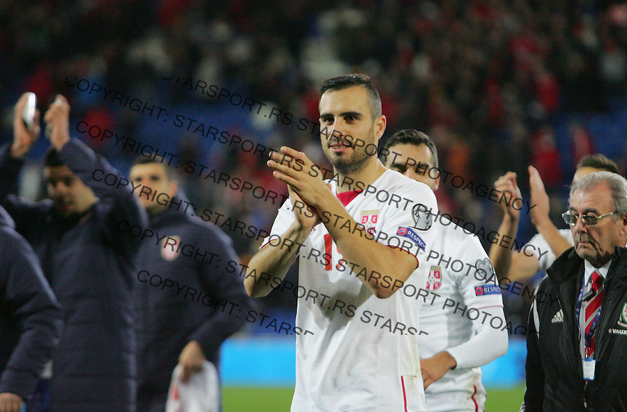 (copyright &amp; photo: STARSPORT)<br /> 12.11.16 World Cup Qualifier -  European Group D - Wales v Serbia -<br /> Nikola Maksimovic of Serbia celebrates an away point with the fans