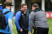 Bath Rugby first team coach Toby Booth has a laugh with Wasps Director of Rugby Dai Young prior to the match. Gallagher Premiership match, between Bath Rugby and Wasps on May 5, 2019 at the Recreation Ground in Bath, England. Photo by: Patrick Khachfe / Onside Images