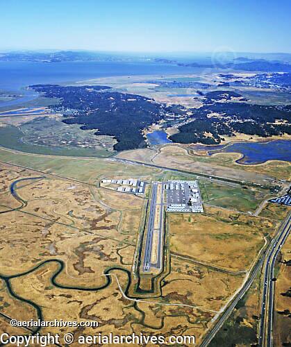 aerial photograph Gnoss Field airport Novato, Marin County, California