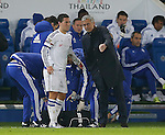 Jose Mourinho manager of Chelsea talks to Eden Hazard of Chelsea just before he leaves the field injured - English Premier League - Leicester City vs Chelsea - King Power Stadium - Leicester - England - 14th December 2015 - Picture Simon Bellis/Sportimage