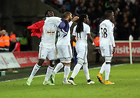 Pictured: Bafetimbi Gomis of Swansea celebrating his equaliser with a French flag Saturday 10 January 2015<br />