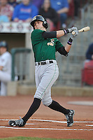 Clinton LumberKings Braden Bishop (9) swings during the game against the Cedar Rapids Kernels at Veterans Memorial Stadium on April 15, 2016 in Cedar Rapids, Iowa.  Clinton won 11-5.  (Dennis Hubbard/Four Seam Images)