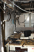 The effect of a flash fire in this fourth floor office inside the Pentagon in Washington, D.C. is shown in this Friday, September 14, 2001, photograph.  Damage to the Pentagon was caused when the high-jacked American Airlines flight slammed into the building on September 11, 2001.  The terrorist attack caused extensive damage to the west face of the building and followed similar attacks on the twin towers of the World Trade Center in New York City.   .Credit: Department of Defense via CNP.