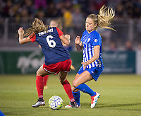 Boyds, MD - April 16, 2016: Boston Breakers midfielder Kristie Mewis (19) and Boston Breakers players Shelina Zadorsky. and The Washington Spirit defeated the Boston Breakers 1-0 during their National Women's Soccer League (NWSL) match at the Maryland SoccerPlex.