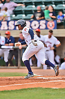 Greeneville Astros designated hitter Wander Franco (44) runs to first during a game against the Kingsport Mets at Pioneer Park on July 3, 2016 in Greeneville, Tennessee. The Mets defeated the Astros 11-0. (Tony Farlow/Four Seam Images)