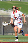 Los Angeles, CA 04/22/16 - Kelsey Dreyer (USC #31) in action during the NCAA Stanford-USC Division 1 women lacrosse game at the Los Angeles Memorial Coliseum.  USC defeated Stanford 10-9/