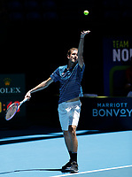 7th January 2020; RAC Arena, Perth, Western Australia; ATP Cup Australia, Perth, Day 5; Russia versus Norway; Daniil Medvedev of Russia serves during his match against Casper Ruud of Norway - Editorial Use