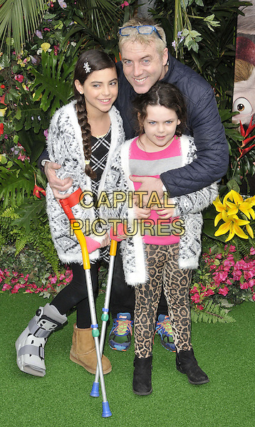 LONDON, ENGLAND - MARCH 30: Donal MacIntyre &amp; his children attend the &quot;Rio 2&quot; VIP film screening, Vue West End cinema, Leicester Square, on Sunday March 30, 2014 in London, England, UK.<br /> CAP/CAN<br /> &copy;Can Nguyen/Capital Pictures