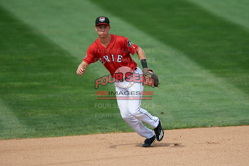 Erie SeaWolves shortstop A.J. Simcox (10) during a game against the Hartford Yard Goats on August 6, 2017 at UPMC Park in Erie, Pennsylvania.  Erie defeated Hartford 9-5.  (Mike Janes/Four Seam Images)