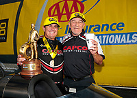 Sep 29, 2019; Madison, IL, USA; NHRA top fuel driver Billy Torrence (left) celebrates with crew chief John Stewart  after winning the Midwest Nationals at World Wide Technology Raceway. Mandatory Credit: Mark J. Rebilas-USA TODAY Sports