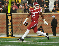 NWA Media/Michael Woods --11/28/2014-- w @NWAMICHAELW...University of Arkansas defensive back DJ Dean reacts after making in interception in the 2nd quarter of Friday afternoons game against Missouri at Faurot Field in Columbia Missouri.