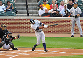 Baltimore, MD - May 8, 2009 -- New York Yankees third baseman Alex Rodriguez (13) connects for a first inning three-run home run against the Baltimore Orioles at Oriole Park at Camden Yards in Baltimore, MD on Friday, May 8, 2009.  Rodriguez hit it on the first pitch..Credit: Ron Sachs / CNP.(RESTRICTION: NO New York or New Jersey Newspapers or newspapers within a 75 mile radius of New York City)