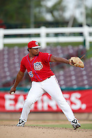 Eduard Santos #45 of the Inland Empire 66'ers pitches against the Lake Elsinore Storm at San Manuel Stadium on June 23, 2013 in San Bernardino, California. Lake Elsinore defeated Inland Empire, 6-2. (Larry Goren/Four Seam Images)