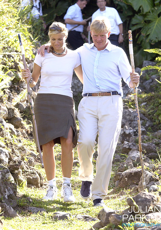 Crown Prince Willem Alexander, and Crown Princess Maxima of Holland visit The Dutch Antilles..Visit the Island of Saba..After arriving at Saba Airport, the couple visited The Sacred Hearts Church & School, visited a house for the elderly, and walked on The Sandy Cruz Trail on Zions Hill..