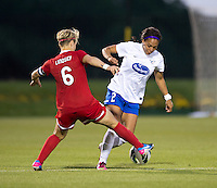 Lori Lindsey (6) of the Washington Spirit fights for the ball with Sydney Leroux (2) of the Boston Breakers during the game at the Maryland SoccerPlex in Boyds, MD.  Washington tied Boston, 1-1.
