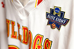 SIOUX FALLS, SD - MARCH 24: The Division II Elite Eight patch rests on a Ferris State University jersey during the Division II Men's Basketball Championship held at the Sanford Pentagon on March 24, 2018 in Sioux Falls, South Dakota. Ferris State University defeated Northern State University 71-69. (Photo by Tim Nwachukwu/NCAA Photos via Getty Images)
