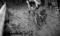 the beauty of racing in the mud: Kobe Goossens (BEL/Telenet-Fidea/U23) plowing through it<br /> <br /> Superprestige Gavere 2014