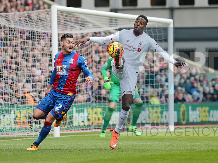 Crystal Palace's Joel Ward tussles with Liverpool's Divock Origi<br /> <br /> - English Premier League - Crystal Palace vs Liverpool  - Selhurst Park - London - England - 6th March 2016 - Pic David Klein/Sportimage