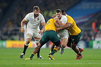 Jonny May of England is tackled by Tevita Kuridrani and Scott Sio of Australia as Geoff Parling of England supports during Match 26 of the Rugby World Cup 2015 between England and Australia - 03/10/2015 - Twickenham Stadium, London<br /> Mandatory Credit: Rob Munro/Stewart Communications