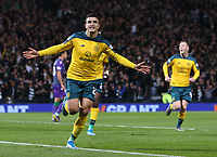2nd November 2019; Hampden Park, Glasgow, Scotland; Scottish League Cup Football, Hibernian versus Celtic; Mohamed Elyounoussi of Celtic celebrates after heads Celtic into the lead in the 17th minute making it 1-0  - Editorial Use