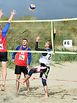 Action at the launch of the volleyball competitions on Bettystown beach. Photo:Colin Bell/pressphotos.ie