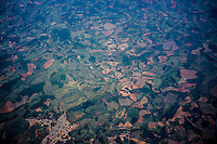 Aerial view of small properties shows deforestation caused by rural land occupation near Belo Horizonte city, capital of Minas Gerais State.