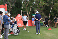 Shane Lowry (IRL) blocking Brooks Koepka (USA) from taking his shot on the 10th tee during the Pro-Am of the Abu Dhabi HSBC Championship 2020 at the Abu Dhabi Golf Club, Abu Dhabi, United Arab Emirates. 15/01/2020<br /> Picture: Golffile | Thos Caffrey<br /> <br /> <br /> All photo usage must carry mandatory copyright credit (© Golffile | Thos Caffrey)