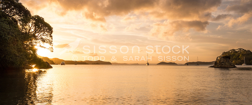 Sunset, Omakiwi Cove, Bay of Islands, New Zealand - stock photo, canvas, fine art print