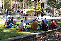 A class sits on the lawn next to the Academic Quad, Feb. 13, 2013.<br /> (Photo by Marc Campos, Occidental College Photographer)