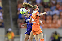 Houston, TX - Saturday Sept. 03, 2016: Camille Levin, Janine Beckie during a regular season National Women's Soccer League (NWSL) match between the Houston Dash and the Orlando Pride at BBVA Compass Stadium.