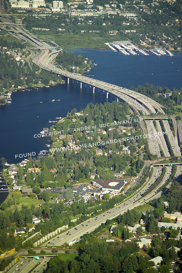 aeriel view of Interstate 90 freeway crossing Lake Washington from Bellevue toward Seattle, WA