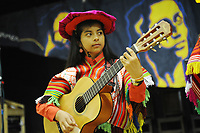 Machynlleth, Wales. 28th July, 2017. <br /> A member of the London based Latin American music and dance group, Expresion Inka, performing at the opening festival plenary session.<br /> Photographer; Kevin Hayes