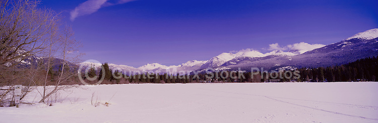 Alta Lake and Coast Mountains, Whistler, BC, British Columbia, Canada, Winter - Panoramic View