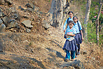 Girls walk to school in the morning in the village of Tanglichowk in the Gorkha District of Nepal that was ravaged by a 2015 earthquake.