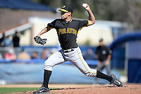 Pitcher Brandon Mann (47) of the Pittsburgh Pirates during a spring training game against the Toronto Blue Jays on February 28, 2014 at Florida Auto Exchange Stadium in Dunedin, Florida.  Toronto defeated Pittsburgh 4-2.  (Mike Janes/Four Seam Images)
