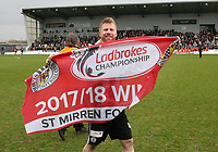 St Mirren's Adam Eckersley celebrates after winning the Scottish Professional Football League Ladbrokes Championship at the Paisley 2021 Stadium, Paisley on 14.4.18.