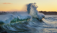 """A large wave started to break on top of a big rip just off of the jetty on Seabright Beach in Santa Cruz-and I just happened to have been pointing my camera that way.  Total """"point and shoot!"""""""