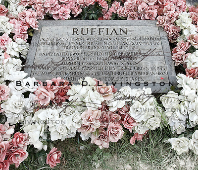 Ruffian (Reviewer Shenanigans, by Native Dancer), champion race filly, is buried at Belmont Park, just past the finish line. scenic, mood, horse racing, pretty, racehorse, horse, equine, racetrack, track, saratoga