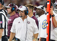 Hawgs Illustrated/Ben Goff<br /> Jimbo Fisher, Texas A&M head coach, in the first quarter vs Arkansas Saturday, Sept. 29, 2018, during the Southwest Classic at AT&T Stadium in Arlington, Texas.