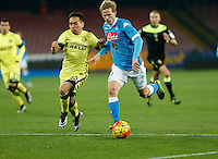 Napoli's Ivan Stric controls the ball during the Quartef-final of Tim Cup soccer match,between SSC Napoli and vFC Inter    at  the San  Paolo   stadium in Naples  Italy , January 19, 2016