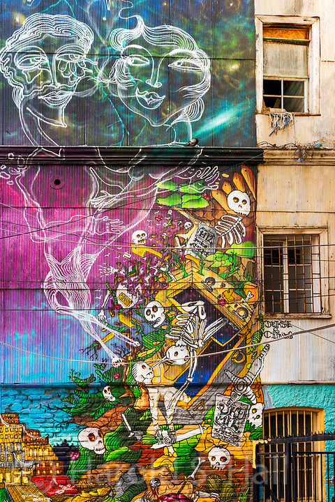 Graffiti in Valparaiso, Chile reaches heights not seen in many other cities.  Homeowners will pay several thousand dollars to have their house facade painted by well-known and talented graffiti artists.  The city will even provide scaffolding to the artists for free.  This depicts a massive flood during the 1800's which floated caskets and their contents away.