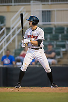 Jameson Fisher (11) of the Kannapolis Intimidators at bat against the Lakewood BlueClaws at Kannapolis Intimidators Stadium on April 9, 2017 in Kannapolis, North Carolina.  The BlueClaws defeated the Intimidators 7-1.  (Brian Westerholt/Four Seam Images)